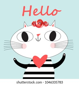 Cute cat vector.T-shirt Print.Love cards.Valentine's Day.animal print.Children illustration for school books and much more.