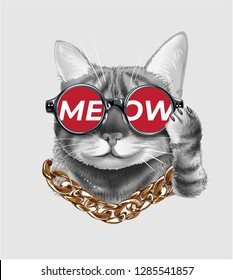 cute cat wearing meow sunglasses and neck lace illustration