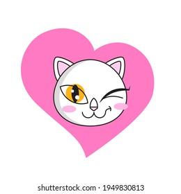 Cute cat winks sticker isolated on white background. White cat blink emoji
