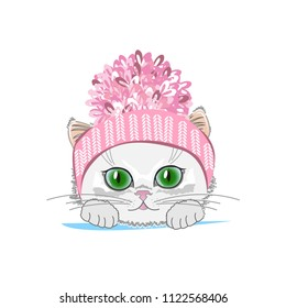 Cute cat in a winter hat with bubo. Vector illustration