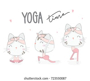 cute cat with yoga pases