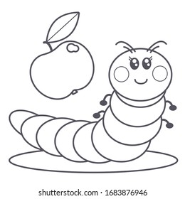 cute caterpillar and apple coloring page