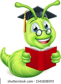 A cute caterpillar bookworm worm cute cartoon character education mascot wearing graduation hat and glasses reading a book