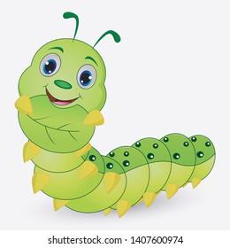Cute caterpillar cartoon holding leaves