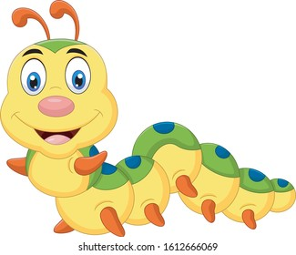 Cute a caterpillar cartoon smiling