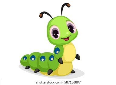 Cute caterpillar cartoon vector illustration