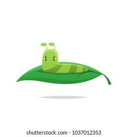 Cute caterpillar on a leaf vector
