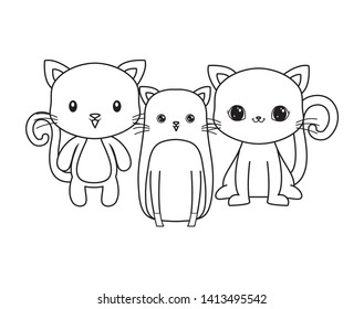 cute cats animals isolated icon