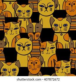 Cute Cats. Cartoon vector seamless pattern.