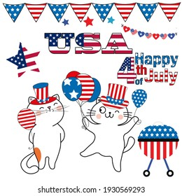 Cute Cats celebrate American Independence Day on July 4th Collection of white background, separate picture elements for festive decoration and design of the celebration. Red, blue, white.