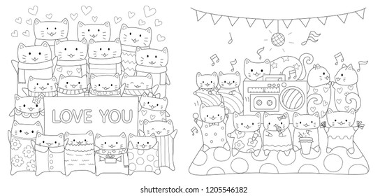 Cute cats collection for print on product and coloring book pages. Vector illustration