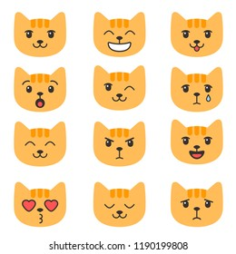 Cute cats with different emotions
