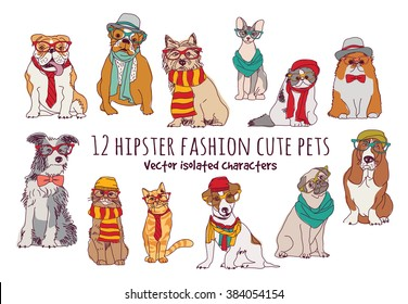 Cute cats and dogs fashion hipster isolated pets.  Color vector illustration. EPS8