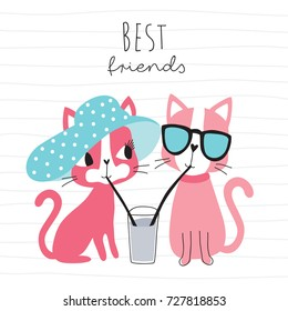 cute cats drinking a drink with straws vector illustration