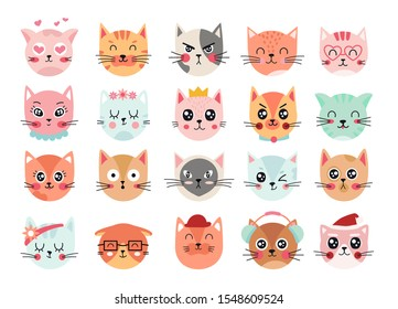 Cute cats faces. Cat heads emoticons, kitten face expressions. Happy smiling, sad, angry and wink cat vector illustration. Animal cartoon characters laughing and crying. Hand drawn emoji feelings