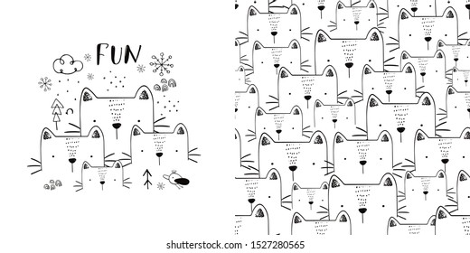 Cute cats family,friends  seamless pattern. Hand drawn vector illustration. Can be used for t-shirt print, kids wear fashion design, baby shower invitation card.