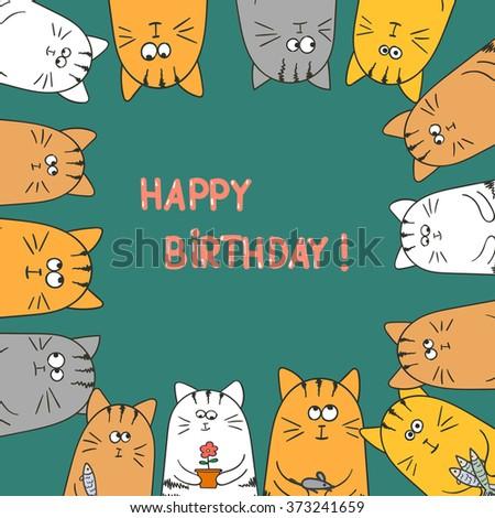 Cute Cats Happy Birthday Card Doodle Vector Illustration