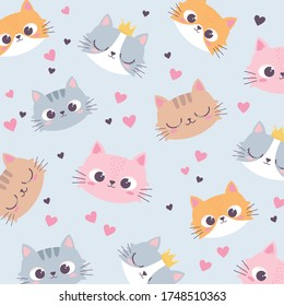 cute cats heads love heart cartoon animal funny character background vector illustration