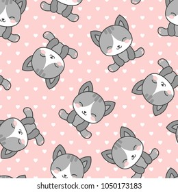 Cute Cats with Heart Dots Seamless Pattern, Pink Cartoon Animals Background, Vector Illustration