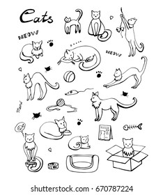 Cute cats icons set. Hand drawn doodles set with cats and care products. Vector, EPS 8.
