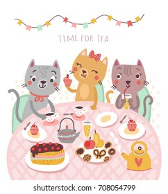 Cute cats. Illustration. Tea time