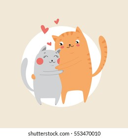 Cute Cats in love hugging. Happy Valentine's day postcard. Vector illustration.