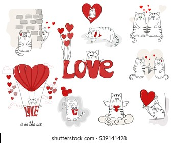 Cute cats in love. Valentines day big set for your design. Collection of doodle vector illustrations.
