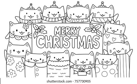 Cute cats with Merry Christmas texts for cards,invitation and coloring book page for kids. Vector illustration
