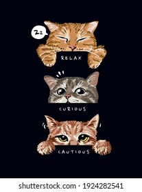 cute cats mood illustration on black background