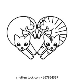 Cute cats on white background. Vector hand drawn illustration for pet shop or veterinary clinic