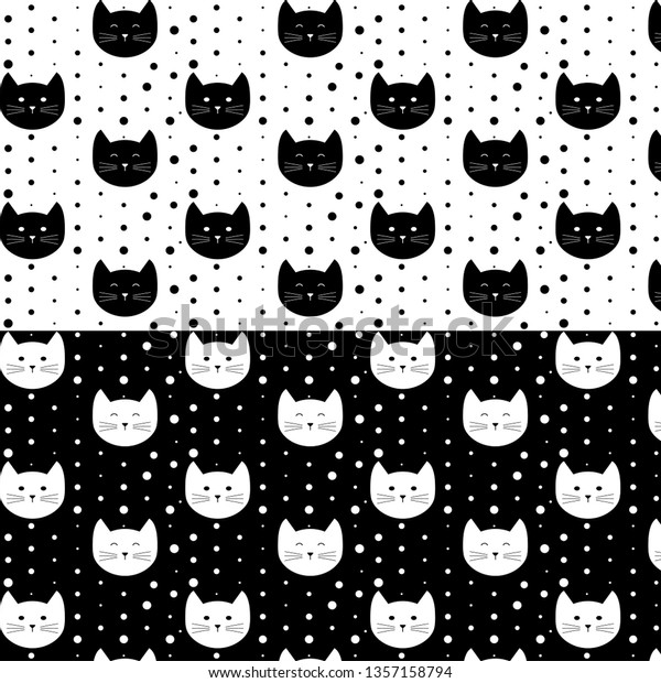Cute Cats Pattern Black White Cat Stock Vector Royalty Free 1357158794