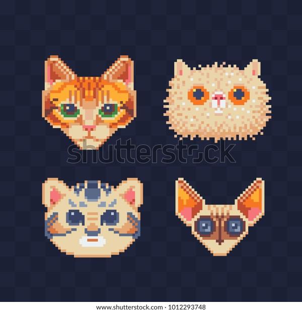 Image Vectorielle De Stock De De Mignons Chats Pixel Art