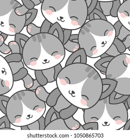 Cute Cats Seamless Pattern, Cartoon Animals Background, Vector Illustration