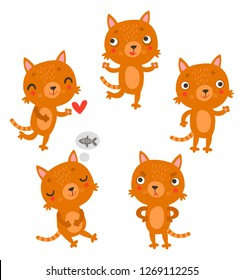 Cute cats vector characters collection