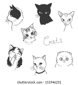 Cute cats. Vector illustration in black and white