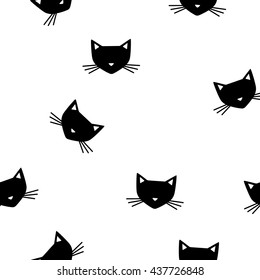 Cute cats vector seamless monochrome pattern. Graphic tile. Print with cute symbol kitty. Endless texture. Design textile. Elegance wallpaper with honey silhouette pets.