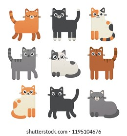 Cute cats vector set. Kittens of different colours: calico, tabby, red, gray, black