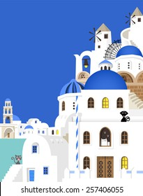 Cute cats visit the beautiful and silent island with blue roofs and white buildings for vacation
