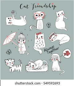 cute cats/friendly cats/cats illustration