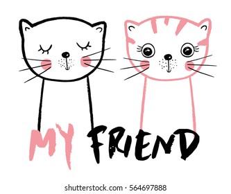 cute cats/friendly cats/cats illustration