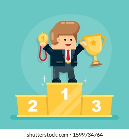 Cute Caucasian Businessman Holding Big Golden Award Cup and First Place Medal Standing on First Place of Pedestal. Career, Winner, Successful Manager, Worker Concept. Flat Vector Illustration.