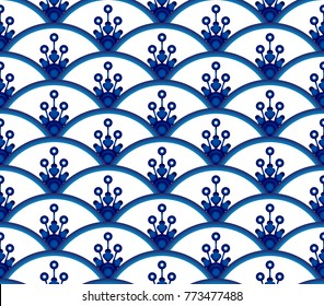 cute ceramic seamless blue and white background design, porcelain pattern vector