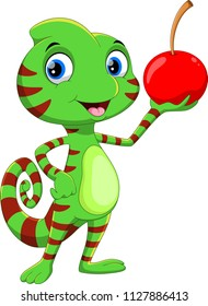 Cute chameleon cartoon with cherry fruit