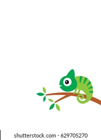 cute chameleon climb on tree vector
