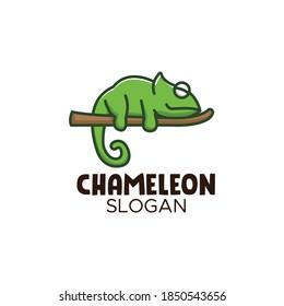 Cute chameleon logo design mascot