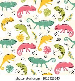 Cute chameleons seamless pattern - hand drawn reptile illustrations background design
