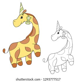 Cute characer for coloring book or page, birthday`s theme: a little giraffe boy, vector animal on the white background, isolated cartoonish item for children