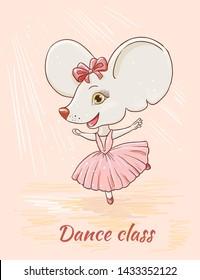 Cute character, ballerina mouse. Childish illustration