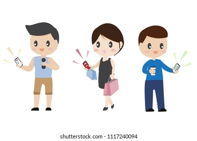 cute character business man healthy man and material girl different lifestyle using smart phone for their convenience on white background isolated eps10 vector illustration