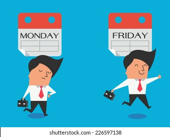 Cute character of businessman expressing feeling and emotion to Monday and Friday in different gesture, feel bad and happy. Flat design.